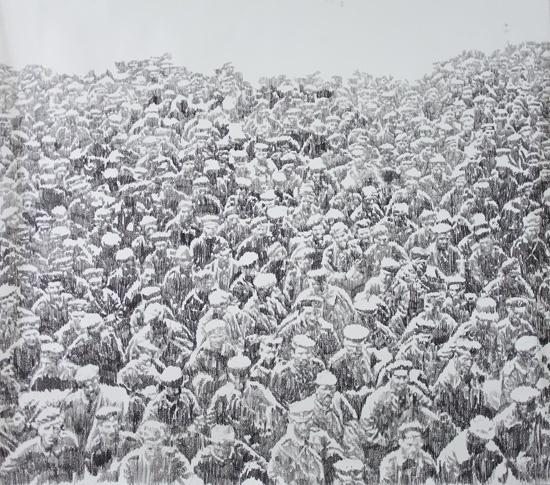 Mircea Suciu - In Line, 2011 charcoal on paper 167 x 150 cm
