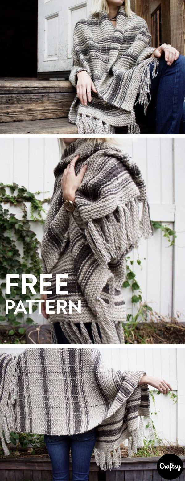 This campfire blanket scarf is the perfect knitted boho accessory. Keep warm on a chilly summer night with this beautiful wrap. Get the free knitting pattern at Craftsy!