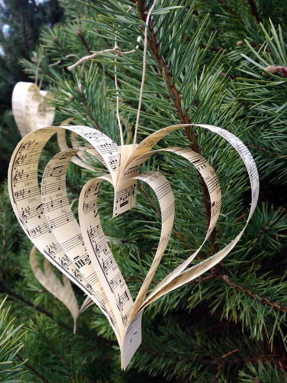 Paper Heart Music Ornaments5Wedding DecorWedding by RootToVine, $12.00