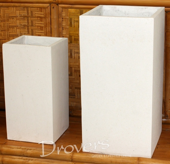 Tall Cube terrazzo pot in white and black 800x400x400