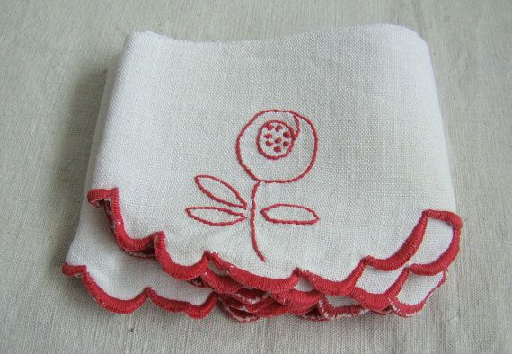 French vintage linen shelf border, red and white shelf trim - embroidered flowers - french country style - Retro shelf edging on Etsy, $32.14