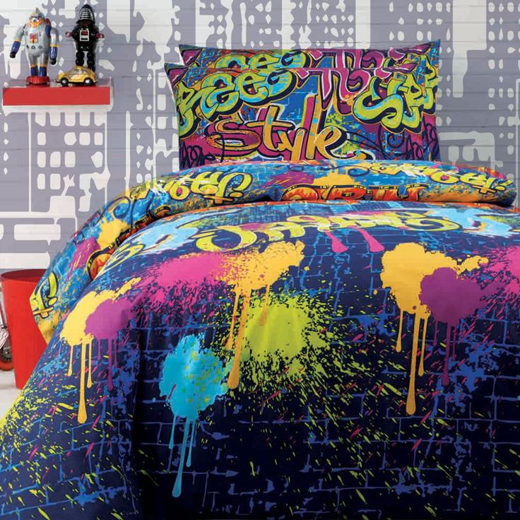 Graffiti Quilt Cover Set Doona Duvet Cover Boys Teen Bedding Girl Kid Artist Art