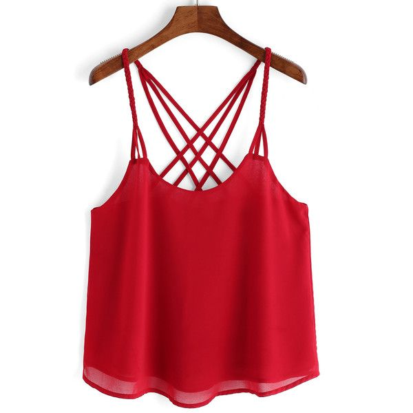 Red Spaghetti Strap Chiffon Cami Top (175 MXN) ❤ liked on Polyvore featuring tops, red, chiffon tank, spaghetti strap tank, chiffon camisole, camisole tank tops and red cami