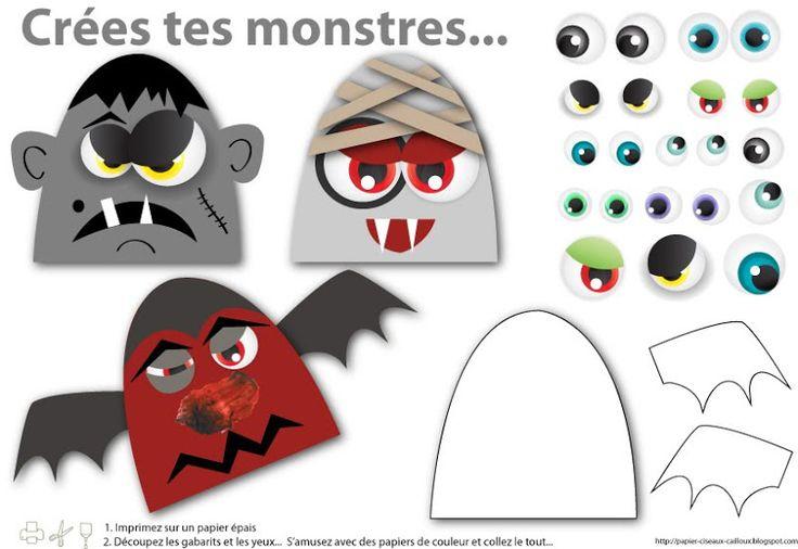 FREE printable halloween DIY monsters