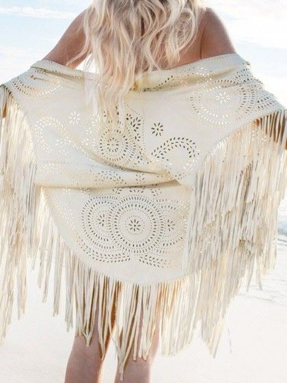 White Floral Cut Out Asymmetric Fringe Tasseled Kimono