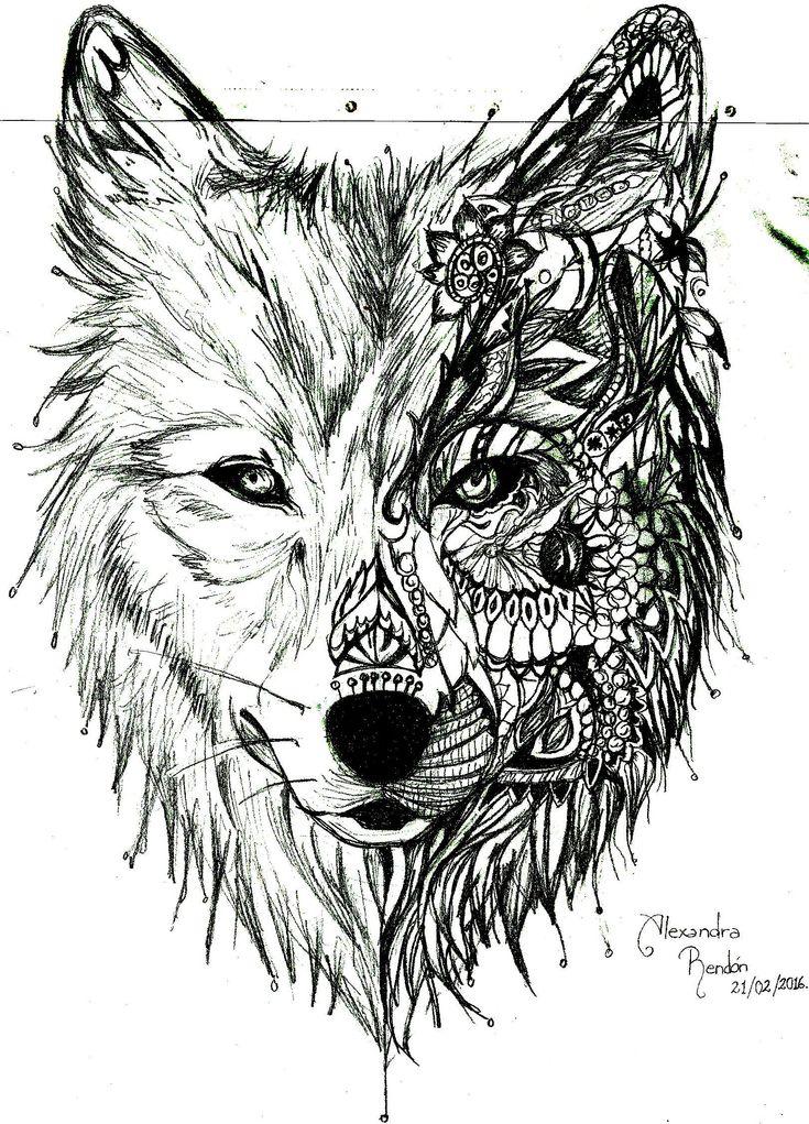 dibujo de lobo tribial a lapiz