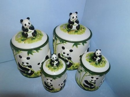 Amazon.com: PANDA BEAR 3-D Canisters Set of 4 ^NEW^ Canister: Home & Kitchen $51.67