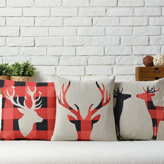 cotton linen Fabrics red Christmas deer Elk wapiti Pillow Cover pillow sham cushion cover cushion case pillowcase pillow case scatter pillow on Etsy, $17.37 CAD