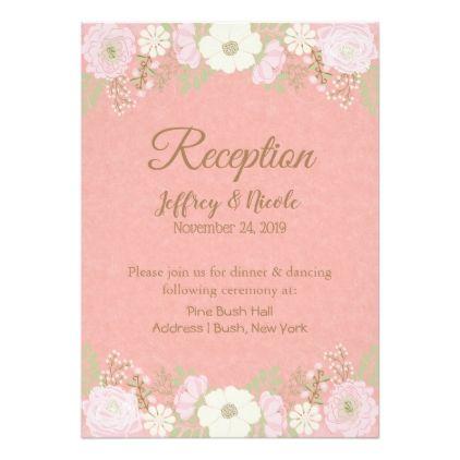 Pink Mason Jar Flower Wedding Reception Card - floral style flower flowers stylish diy personalize