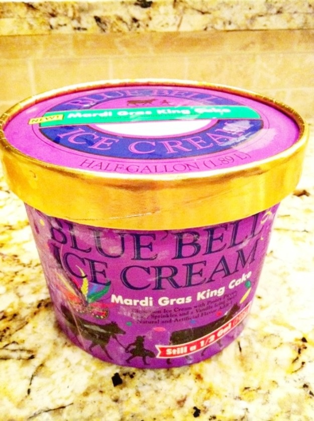 Never knew this existed! Leave it to Blue Bell!! Mardi Gras King Cake Ice Cream!