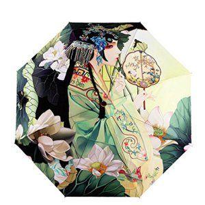 Manzouy Portable Pliant Voyager Parapluie. Une peinture d'un parapluie. Solide Durable Windproof Ancien Costume
