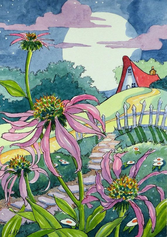 Echinacea Under the Moon Storybook Cottage art Print from original painting
