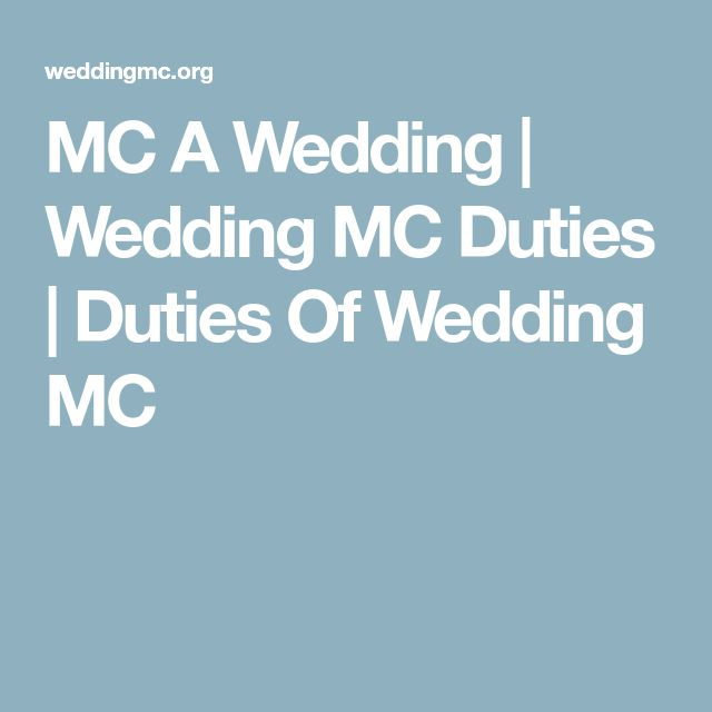 MC A Wedding | Wedding MC Duties | Duties Of Wedding MC