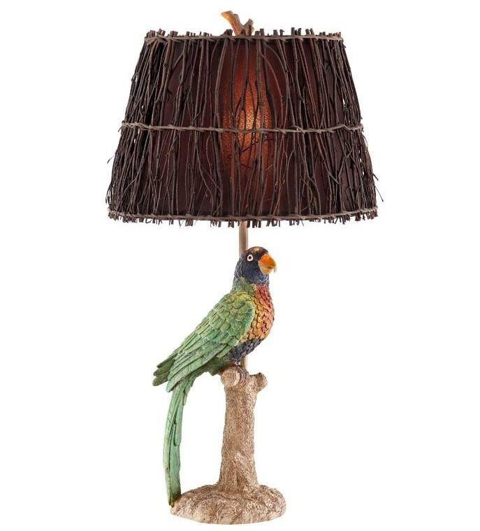Coastal Tropical Decor Table Lamp Caribbean Parrot Accent Lighting Beach Style…
