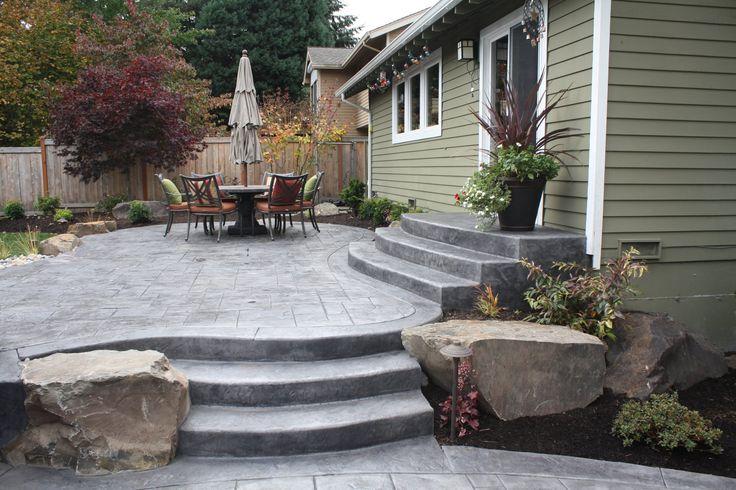 backyard concrete patio   Issaquah, WA Stamped concrete patio- Sublime Garden Design