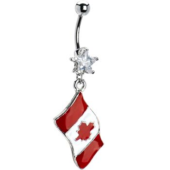 Canada Flag Dangle Belly Ring | Body Candy Body Jewelry