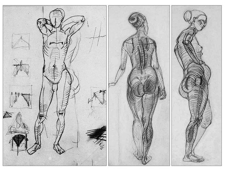 ВХУТЕМАС. А.А.Дейнека. Рисунки фигуры с выраженными элементами построения.