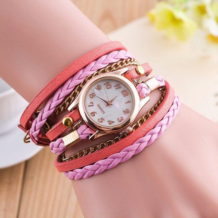 Multilayer PU Leather Band Wrap Bracelet Wrist Watch