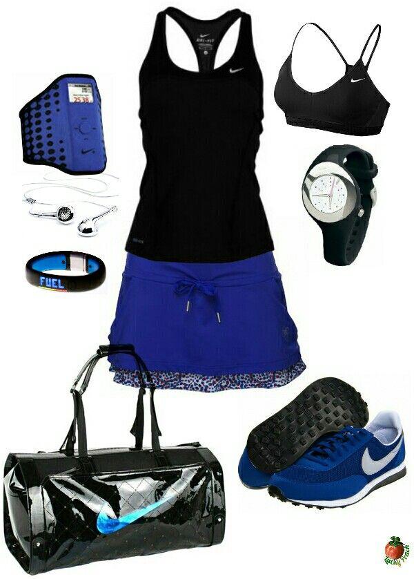 Women's fashion blue black nike gym outfit