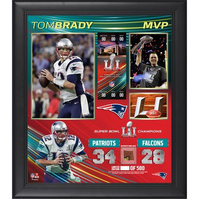 "New England Patriots Tom Brady Fanatics Authentic Framed 15"" x 17"" Super Bowl LI MVP Collage with a Piece of Game-Used Football - Limited Edition of 500"