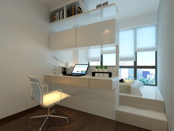 Um einen kleinen Raum mit einer Plattform zu arrangieren