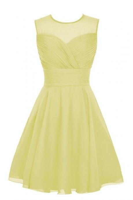 Bg530 Charming Homecoming Dress,Yellow Homecoming Dress,Chiffon Homecoming Dresses,Short