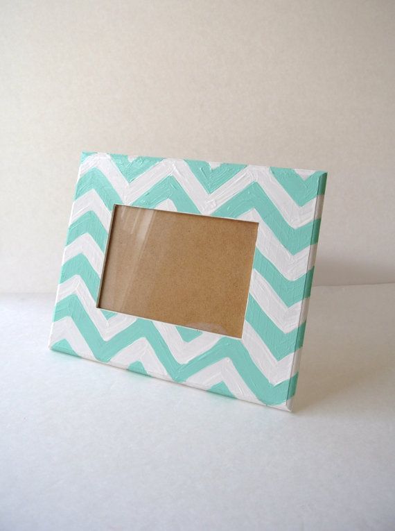 Hand painted Aqua Chevron Picture Frame