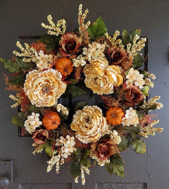 Cream Fall Wreath, Pumpkin Wreath, Thanksgiving Wreath, Autumn Wreath, Large Fall Wreath