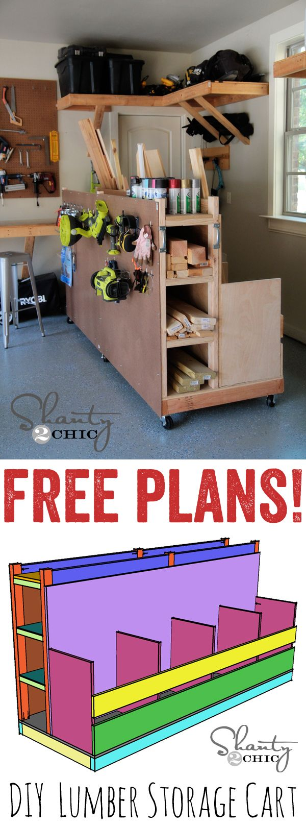 DIY Lumber Storage Cart Free Plans... I need this in my garage!  LOVE.  www.shanty-2-chic.com