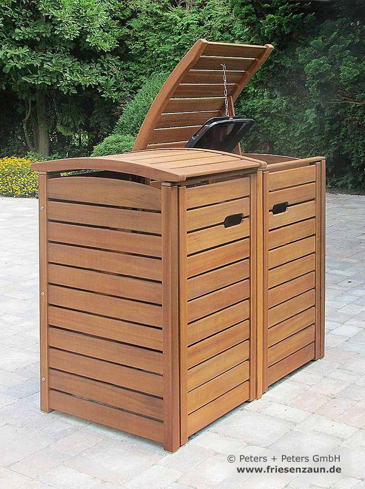 • Mülltonnenbox CLASSIC aus FSC Hartholz - für 120 + 240 Liter Abfalltonnen - komplettes Edelstahl-Zubehör
