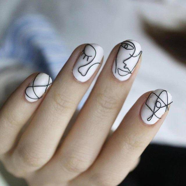 This Is The Next Nail Trend You Need To Try – Black And White Lines Patterned Na…