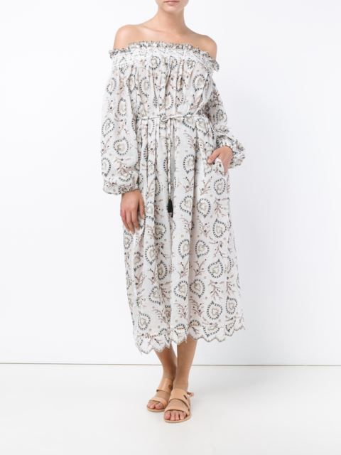 Zimmermann floral embroidery off-shoulder dress