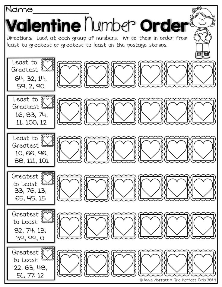 Worksheets For Kindergarten Number Order : Ordering numbers from least to greatest worksheets