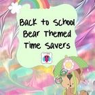 This is a nice set of bear themed classroom name tags, forms, schedule cards, bus tags, portfolio covers, group organized tags for up to five numbe...