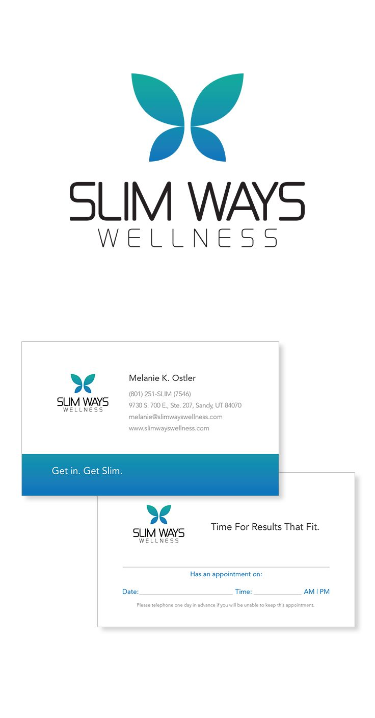 Slim Ways Wellness Logo & Business Card #epicmarketing #marketing #logo #businesscard #stationary #visualidentity