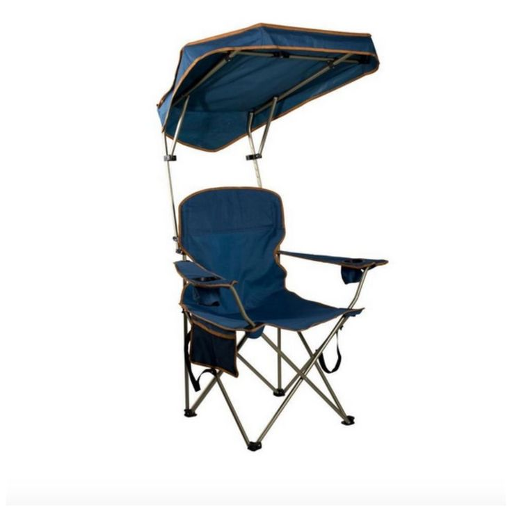 Outdoor Camping Beach Camp Chair Portable Folding Canopy Shade Navy Blue Metal