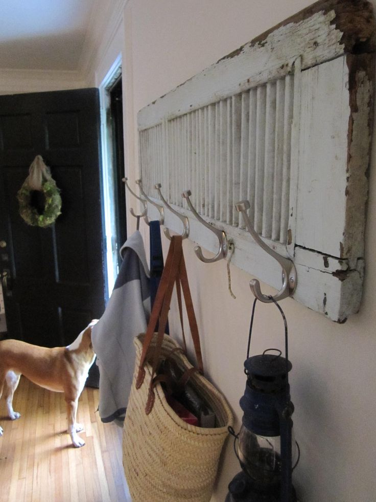 Old Shutter Becomes a Coat Rack