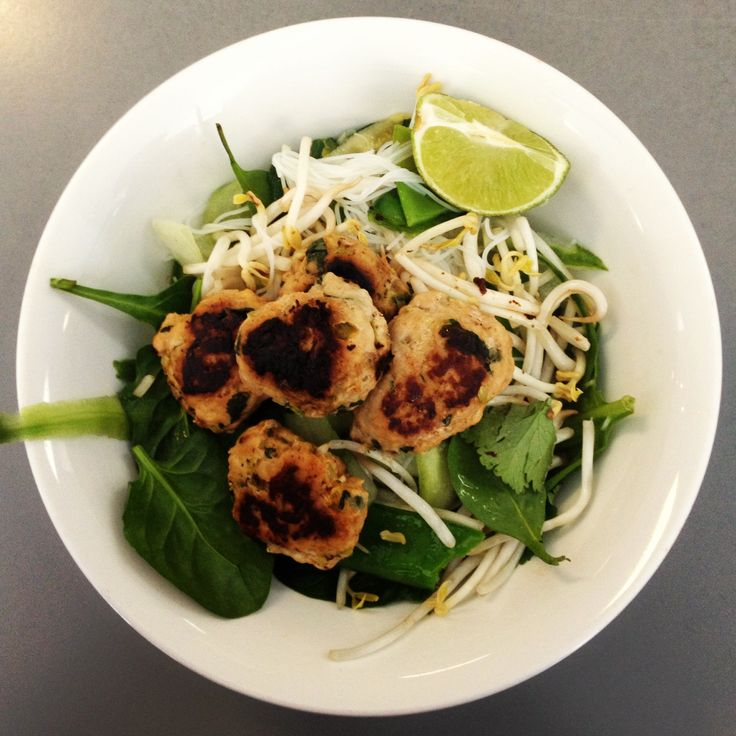 Asian Chicken Patties with Noodle Salad! Yummy 12wbt meal