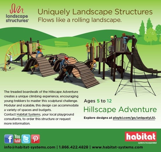 Create a rolling playground landscape with the Hillscape Adventure! Landscape Structures' treaded boardwalk will challenge kids ages 5 to 12, and can fit a variety of spaces and budgets for you Western Canadian project.