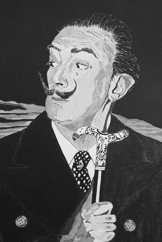 Salvador Dali portrait original Artists small canvas print is taken from John McDonalds painting A Glasgow Affair, which imagines a meeting between Salvador Dali and Frida Kahlo at Kelvingrove Art Gallery in Glasgow, Scotland. An ideal gift for fans of Salvador Dali, this is a