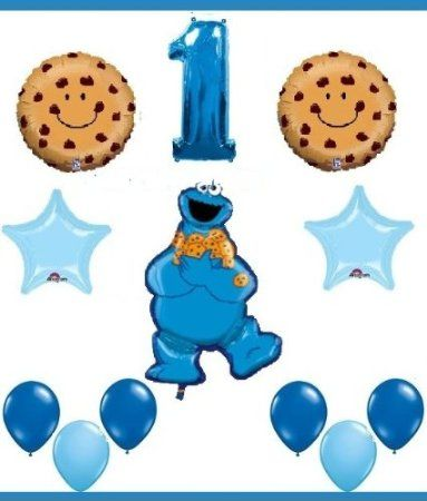 Amazon.com: SESAME STREET COOKIE MONSTER first birthday party supplies balloons one 1st: Toys & Games