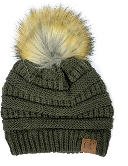 082d2bf7b4452 Plum Feathers Soft Stretch Cable Knit Ribbed Faux Fur Pom Pom Beanie Hat  (Beige) at Amazon Women's Clothing store: