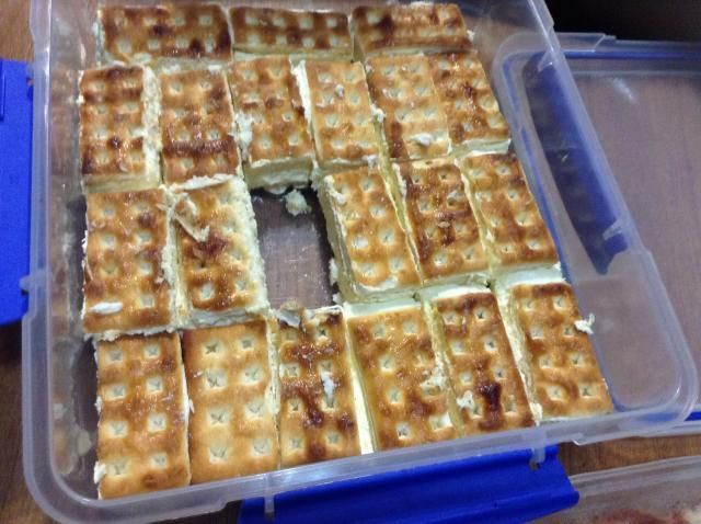 A delicious slice using sugar-coated lattice biscuits. No baking required.