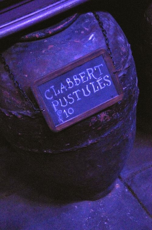 Diagon Alley - Large jars outside Mr. Mullpepper's Apothecary have signs advertising: Clabbert Pustules, Dragon Liver, and Chizpurfle Fangs. And they make it clear, no, they don't sell unicorn blood.