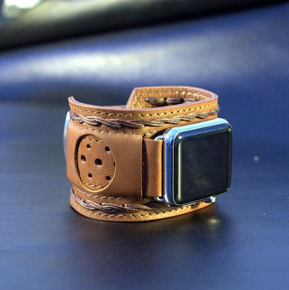 Apple Watch Strap Handmade Vintage Brown. Lugs Adapter by dganin