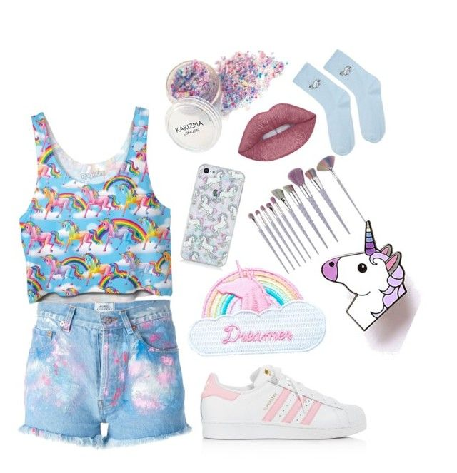"""""""Unicorn/colourful"""" by samkitten69 on Polyvore featuring Forte Couture, Jazzelli Designs, adidas and Topshop"""