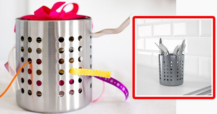 "Never hunt for gift ribbon again with the <a href=""http://www.ikea.com/us/en/catalog/products/30011832/"" target=""_blank"" data-skimlinks-tracking='4748385'>ORDNING</a> cutlery holder:"