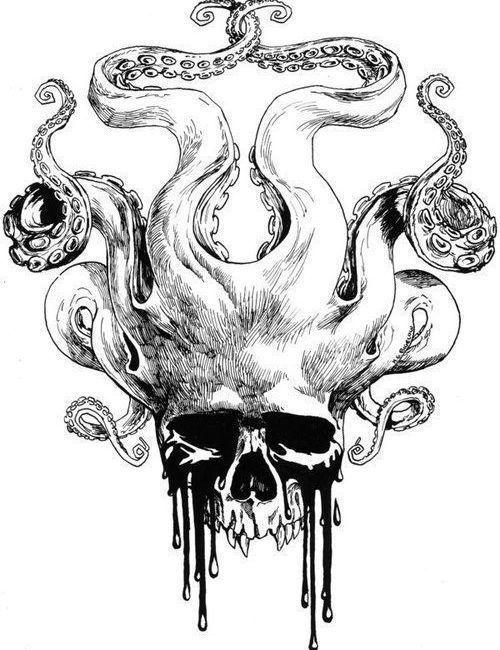Черно белый эскиз тату с цветами: Черно-белый эскиз черепа с щупальцами