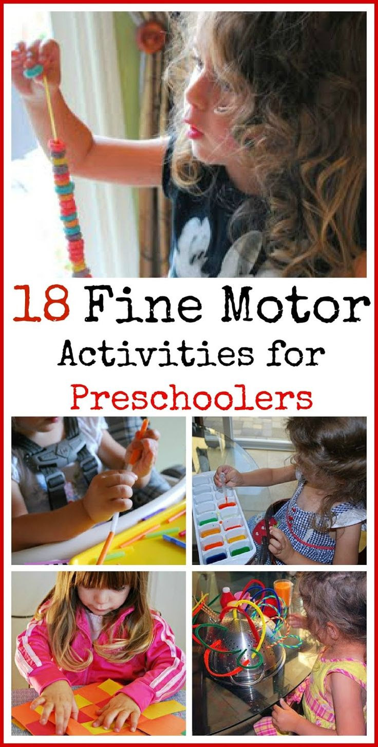 18 Fine Motor Activities for Preschoolers. Love how lots of these ideas use stuff you already have around the house.