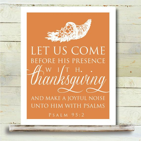 Best Thanksgiving Quotes From Bible: Thanksgiving PRINTABLE 8x10 Art Poster Bible Verse Psalms
